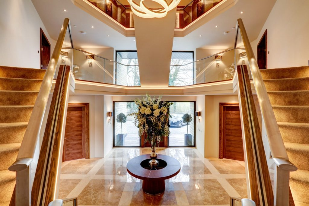 Entrance hallway Imperial contemporary staircase. Tanglewood by Guy Phoenix